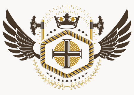 Classy emblem made with eagle wings decoration, Christian religious cross and royal crown symbol. Vector heraldic Coat of Arms.