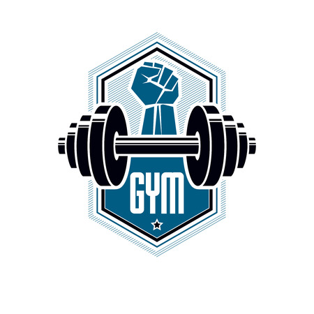 Heavyweight gym or fitness sport gymnasium, vintage style vector emblem With barbell.