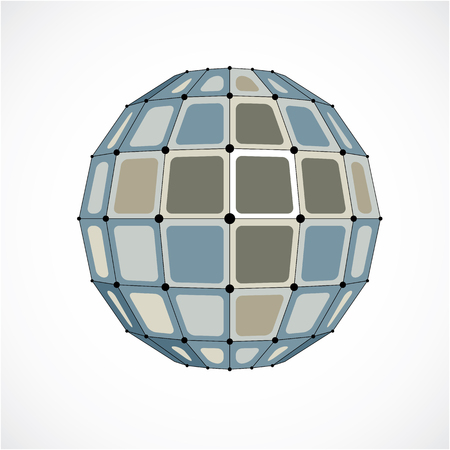 3d vector digital wire frame spherical object made using facets. Geometric polygonal gray structure created with lines mesh and squares. Low poly shape, lattice form for use in web design.