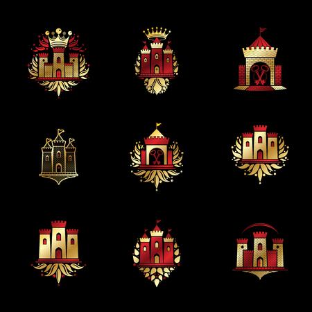 citadel: Royal symbols floral and crowns emblems set, heraldic design element.