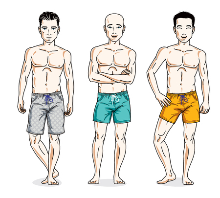 Happy men posing with perfect body, wearing beach shorts Vector diverse people illustrations set. Illustration