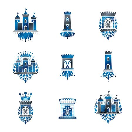 citadel: Heraldic Coat of Arms vintage vector collection. Illustration