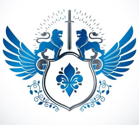 Old style heraldry heraldic emblem, vector illustration.