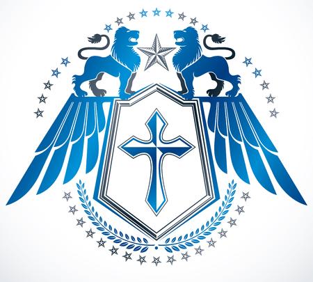 winged lion: Heráldica de estilo antiguo emblema heráldico, ilustración vectorial.