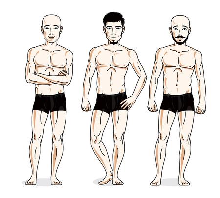 skivvy: Handsome men group standing in black underwear, Vector characters set.