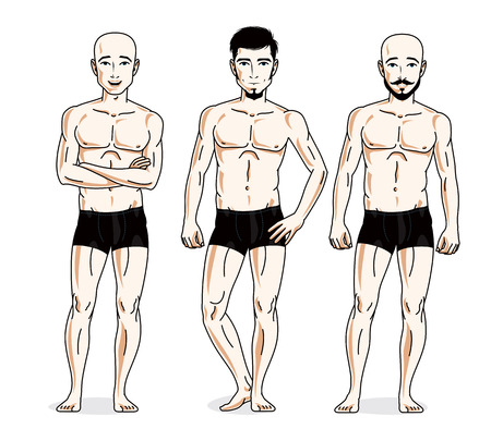 Handsome men group standing in black underwear, Vector characters set.