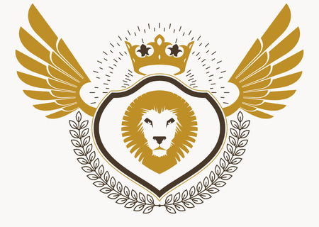 Vector illustration of old style heraldic emblem decorated with eagle wings and made with wild lion illustration and royal crown. Illustration
