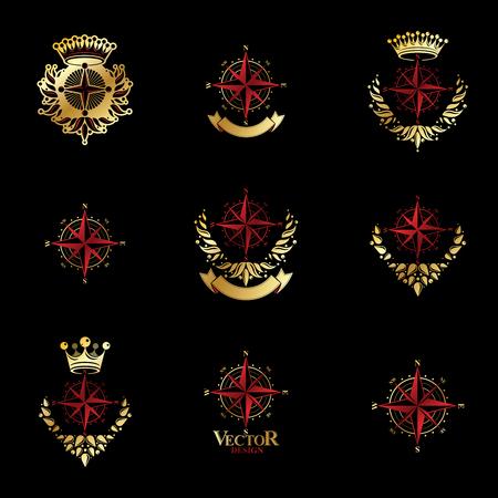 Compasses emblems set, heraldic vector design elements collection. Illustration