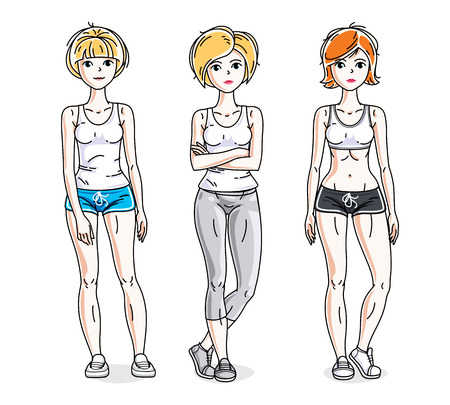 Happy young women posing wearing stylish sport clothes, sportswoman and fitness people. Vector set of beautiful people illustrations. Lifestyle theme fem characters. Illustration