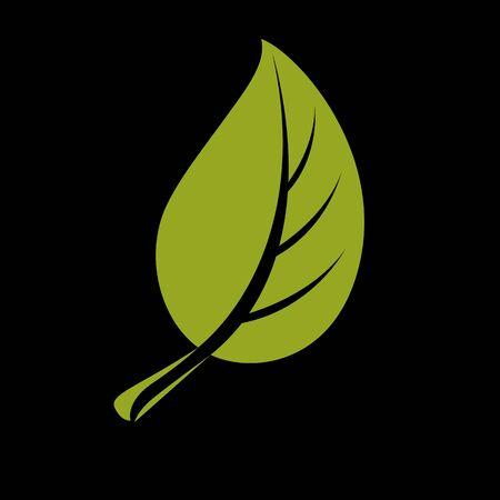 Feuille verte plate simple vecteur. Symbole de l'art à base de plantes et botanique, icône de l'écologie stylisée saison de printemps. Élément de conservation de l'environnement.