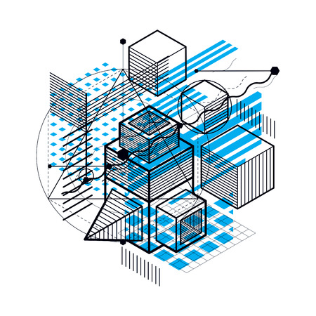 3d abstract vector isometric background. Layout of cubes, hexagons, squares, rectangles and different abstract elements.