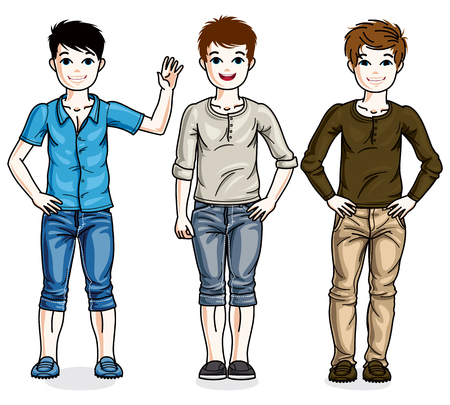 Beautiful happy young teenager boys posing wearing different casual clothes, vector diversity kids illustrations set.