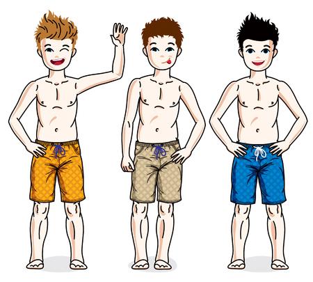 Little boys standing wearing fashionable beach shorts. Vector diversity kids illustrations set.