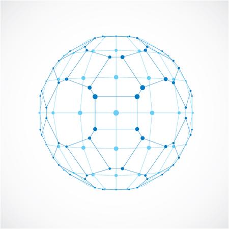 Abstract figure facettes 3d avec des lignes et des points noirs connectés. Vector low poly élément de design bleu créé avec des carrés et de pentagones. forme orbe Cybernetic avec grille et des lignes maillage.