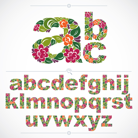 Ecology style flowery font, vector typeset made using natural ornament. Colorful alphabet lowercase letters created with spring leaves and floral design.