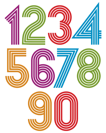 Sunny cartoon striped numbers with rounded corners.