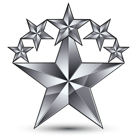 Glamorous vector template with pentagonal silvery star symbol, best for use in web and graphic design. Conceptual gray 3d heraldic icon, clear eps8 vector. Illustration