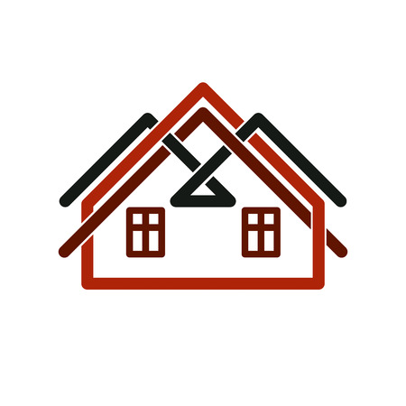 depiction: Property developer stylish estate agency vector symbol. Creative construction icon, house. Commercial building and designing theme.