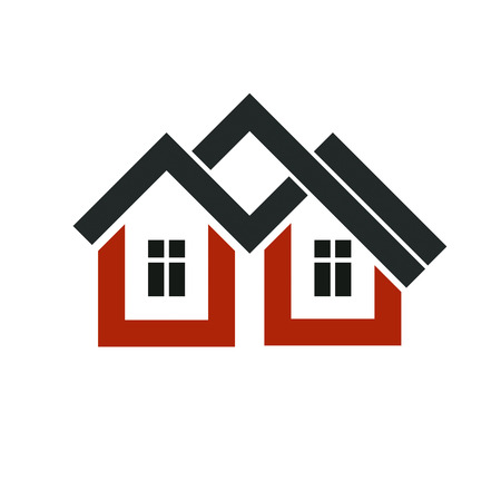 depiction: Property developer stylish icon, estate agency corporate symbol. Creative construction icon, vector house. Commercial building and designing theme.