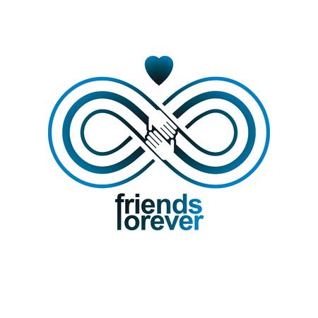 signo infinito: La amistad eterna, para siempre amigos, símbolo del vector creativo aislado en blanco.