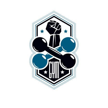 Logotype For heavyweight gym or fitness sport gymnasium, vintage style vector emblem. With barbell and strong hand fist. Illustration