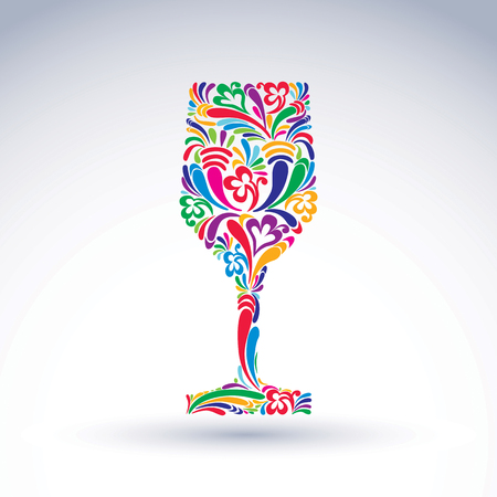 Fantasy decoration, art design goblet with bright flower-patterned filling. Alcohol idea vector illustration, creative glass of wine, vector graphic element.