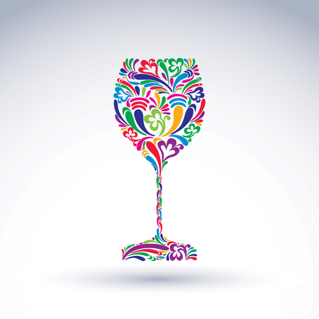 Fantasy decoration, art design goblet with bright flower-patterned filling. Alcohol idea vector illustration, creative glass of wine, graphic element. Illustration