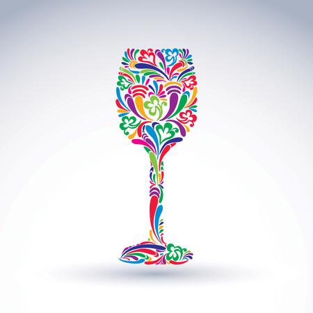 Fantasy decoration, art design goblet with bright flower-patterned filling. Alcohol idea vector illustration, creative glass of wine, graphic element. Illustration