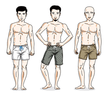 Handsome men posing with athletic body, wearing beach shorts. Vector characters set. Lifestyle theme male characters.
