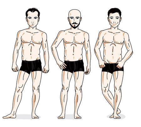 Confident handsome men posing in black underwear. Vector people illustrations set. Illustration
