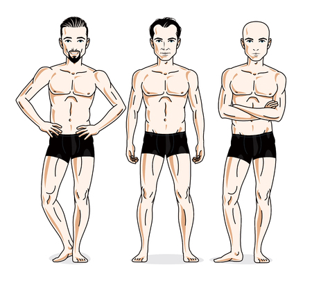 skivvy: Confident handsome men group standing in black underwear. Vector diversity people illustrations set. Athletic man with perfect body.