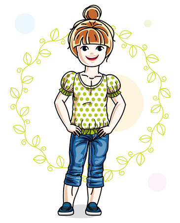 Happy little redhead girl posing on spring background with green leaves and wearing fashionable casual clothes. Vector character.