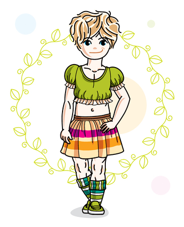Little blonde cute girl toddler in casual clothes standing on green spring backdrop. Vector illustration of pretty child. Illustration