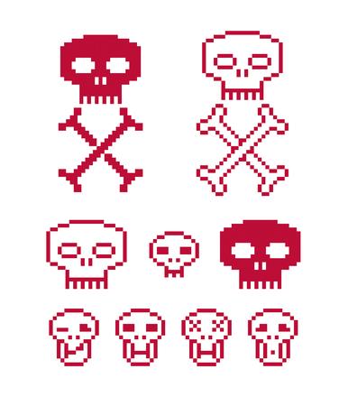 sapiens: Vector Craniums with crossed bones, flat 8 bit icons, collection of simple geometric pixel symbols. Digital web signs.
