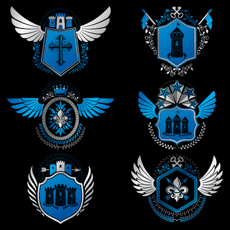 crosses: Heraldic emblems with wings isolated on white backdrop. Collection of vector symbols in vintage style created using heraldry elements like crowns, towers, crosses and armory.