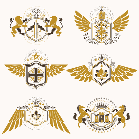 Vintage heraldry design templates, vector emblems created with bird wings, crowns, stars, armory and animal illustrations. Collection of vintage style symbols. Illustration