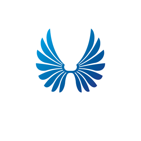 Ancient Symbolic Wings emblem. Heraldic vector design element. Retro style label, heraldry logo.