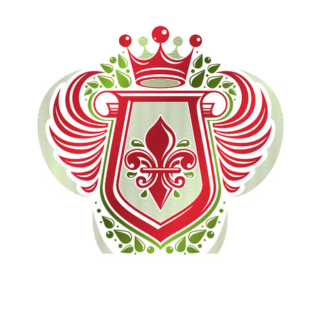 Vintage heraldic emblem created with monarch crown and lily flower royal symbol. Best quality product symbol, organic food theme illustration, winged guard shield made with rolled-up ends. Illustration