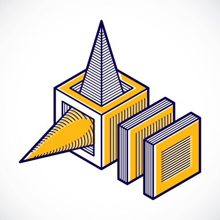 3d abstract isometric construction, vector polygonal shape.