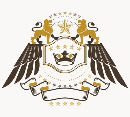 Classy emblem, vector heraldic Coat of Arms. Ilustrace