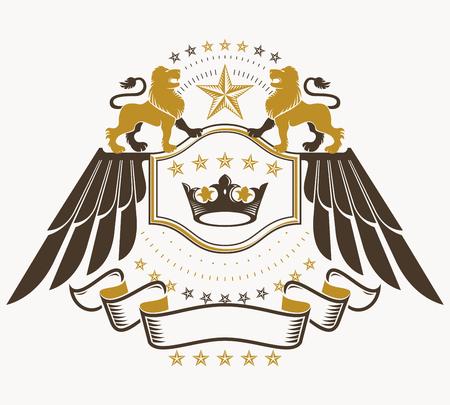 winged lion: emblema con clase, vector del escudo de armas heráldico.