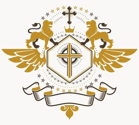 winged lion: Old style heraldry, heraldic emblem, vector illustration.