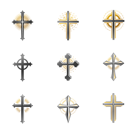 Crosses of Christianity emblems set. Heraldic vector design elements collection. Retro style label, heraldry logo. Иллюстрация