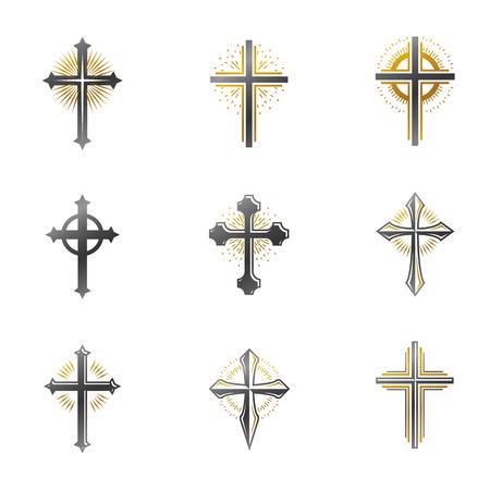 Crosses of Christianity emblems set. Heraldic vector design elements collection. Retro style label, heraldry logo. Illustration