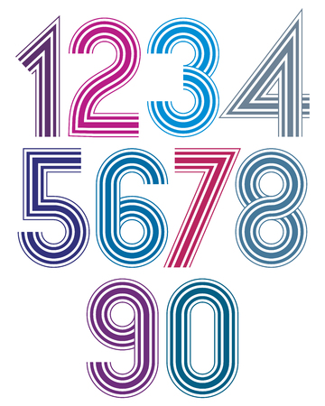 Bright cartoon striped extensive numbers with rounded corners. Ilustração