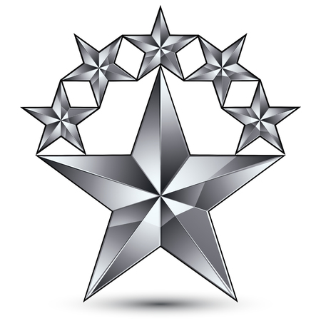 Geometric vector classic silver element isolated on white backdrop, 3d gray decorative stars, silvery shaped blazon.