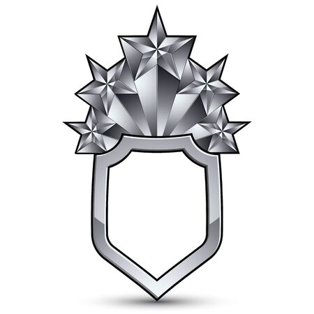Vector Glorious glossy design element with luxury 3d silver star, silvery conceptual graphic template, clear complicated shield. Illustration