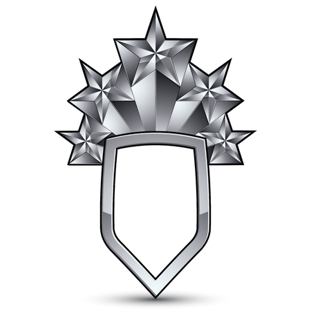 Sophisticated vector blazon with five silver stars, silvery 3d design element, metallic clear EPS 8 emblem.