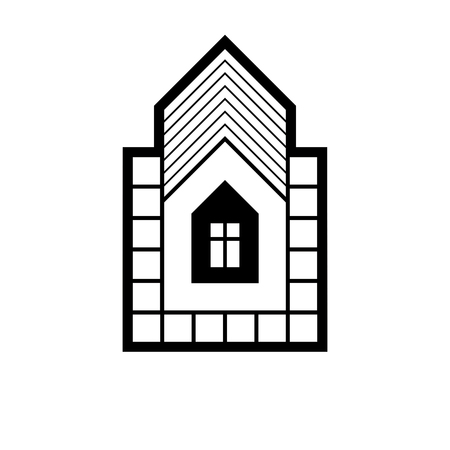 depiction: Real estate simple business vector icon isolated on white background, abstract house depiction. Property developer symbol, conceptual sign best for use in advertising and branding.