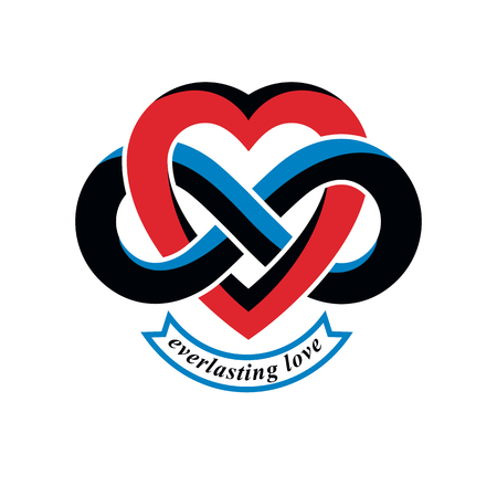 Love Forever conceptual sign, vector symbol created with infinity loop sign and heart.